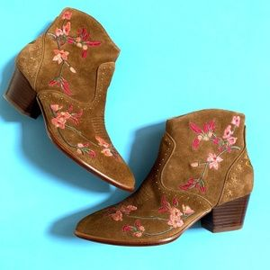 Ash | Heidi Embroidered Western Ankle Booties